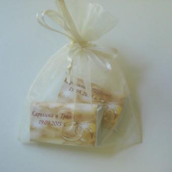 Сватбен комплект шоколадови кюлчета в органза