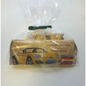 Комплект за момче – Спортна кола в златисто