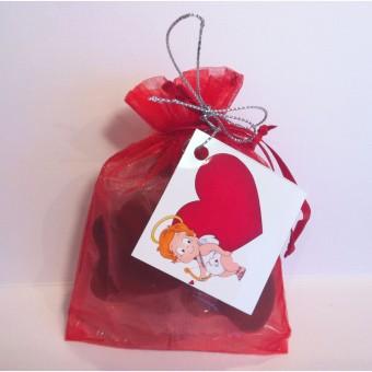 Комплект 6 шоколадови сърца в органза – Романтично признание