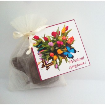 Комплект шоколадови сърца в органза – Честит празник