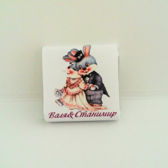 Сватбен мини шоколад – Влюбени зайчета
