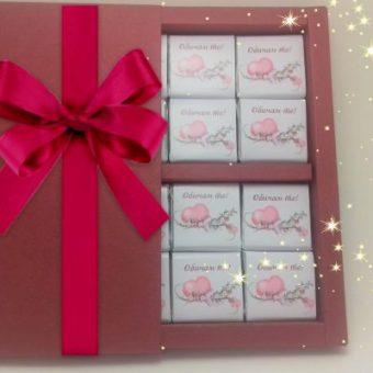 Бонбониера лукс Червено кадифе – С любов